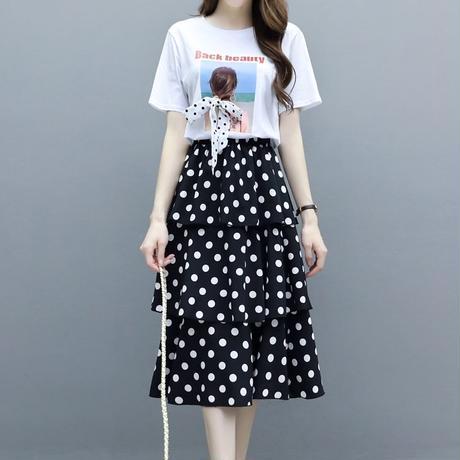 水玉 柄 ツーピース 半袖 ミディ丈 白 黒 2色選択 大きいサイズ 0084