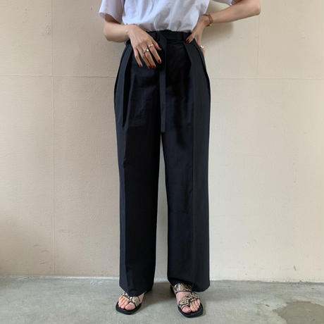 AURALEE - WASHED FINX RIPSTOP CHAMBRAY BELTED PANTS