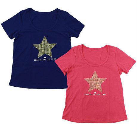 (ROLA MOCA)スター ラインストーン Tシャツ BLUE PINK Sサイズ 海外