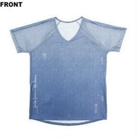 (ROLA MOCA) メッシュスリーブ ロゴ Tシャツ DENIM Mサイズ