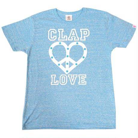 (CLAP)  PEACE  LOVE  CLAP  Tee ターコイズ