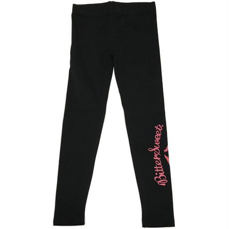 LOGO  COTTON  STRETCH  LEGGINGS  ブラック/ピンク