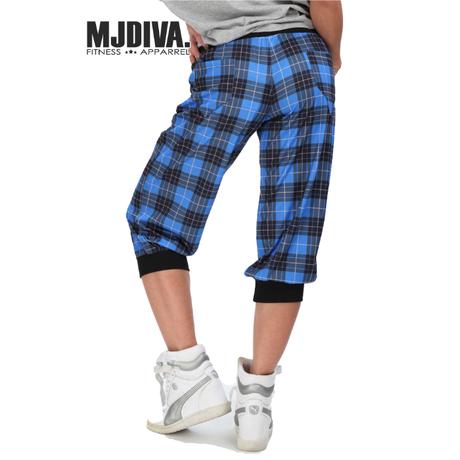 (MJ DIVA) リブ付きチェック柄カプリパンツ ブルー レッド