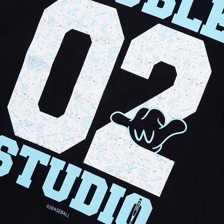 (Wstudio)02BASEBALL Tee ブラック LadiesMサイズUnisexMサイズ