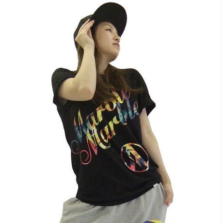(Marble)ユニセックス 花柄Tシャツ (ブラック)