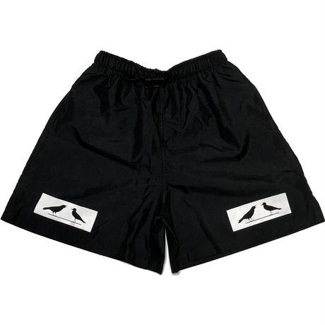 2 BIRDS BOX LOGO Microfiber Baggy Shorts ブラック Sサイズ