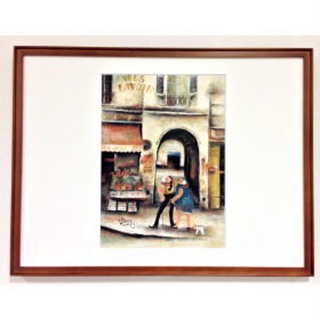 手描きART:「パリの二人」