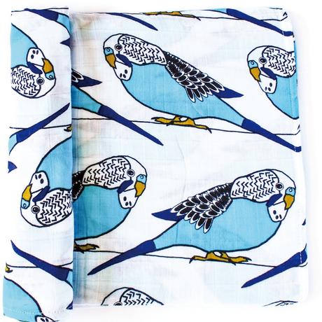 "OLIVER+KIT   - Cotton Single Blanket - ""Blue Bird"""