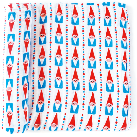 "OLIVER+KIT - Cotton Single Blanket - ""GNOMIES"" Red"
