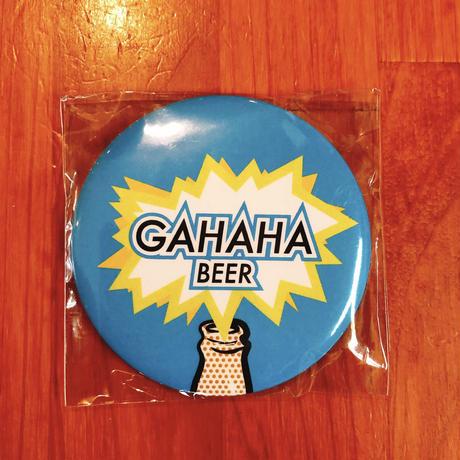 ガハハビールロゴ缶バッチ型マグネット付き栓抜き