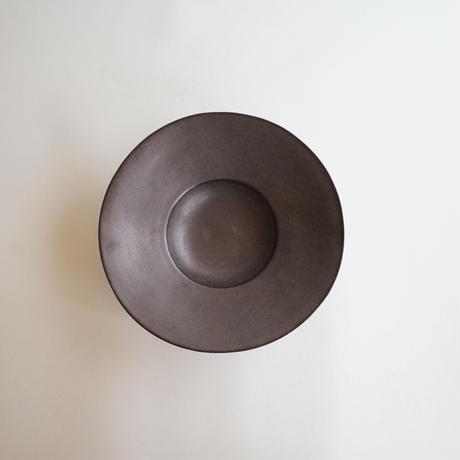 【安藤雅信】黒錆釉リムイタリア皿 M(黒錆)