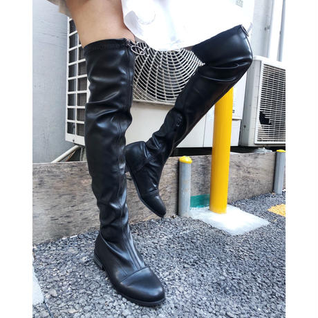 FAKE ZIP KNEE HIGH BOOTS