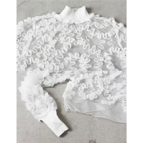 Wavy Frill See-through pullover