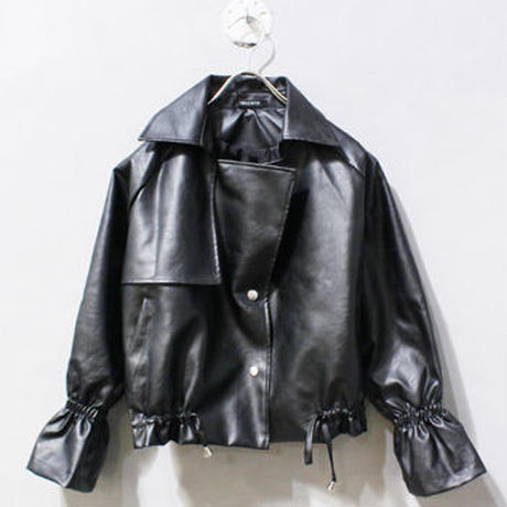 FAKE  LEATHER  GATHER  BLOUSON