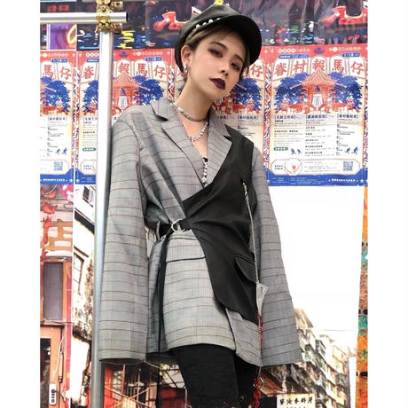 【CUBRUN 】Half-vest Layered Check Jacket