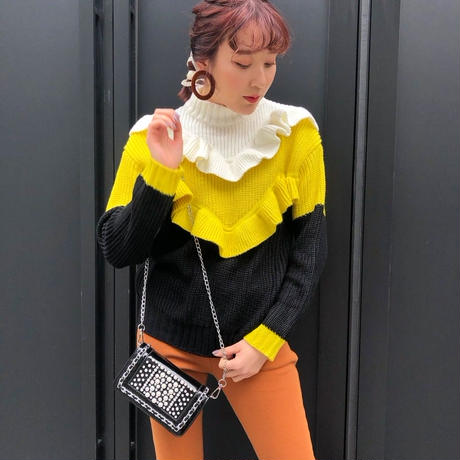 COLOR FRILL KNIT