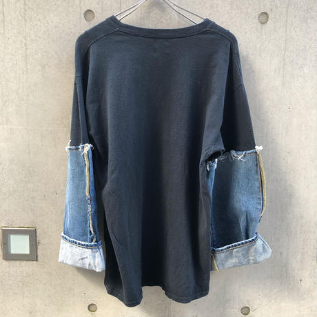 REMAKE DENIM SLEEVE TEE -1