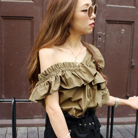 ONE SHOULDER FRILL TOPS/Fall colors