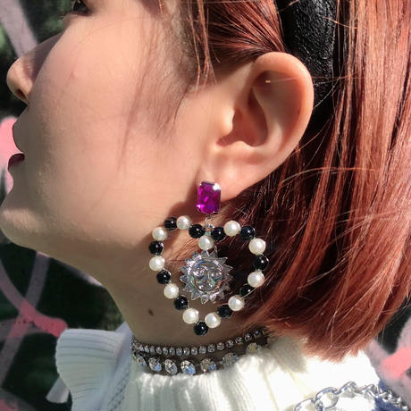 【CUB RUN】SUN&MOON  PEARL  HEART  PIERCE