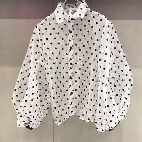 【CUBRUN】SEE-THROUGH DOT VOLUME BLOUSE