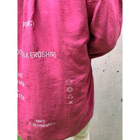 【R-18】USED SILK  SHIRT  - pink -