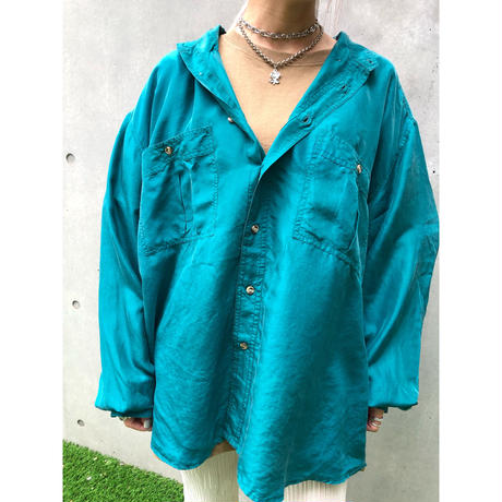 【R-18 】USED SILK  SHIRT  - emerald green -