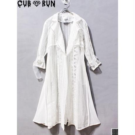 【CUBRUN 】GEOMETRIC LACE TRENCH COAT