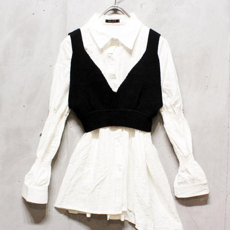 KNIT BUSTIER SET SHIRT