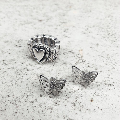 BUTTERFLY PIERCE + HEART RING SET
