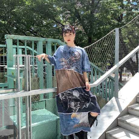 REMAKE  TIE DYE  TEE  DRESS ① -animal-