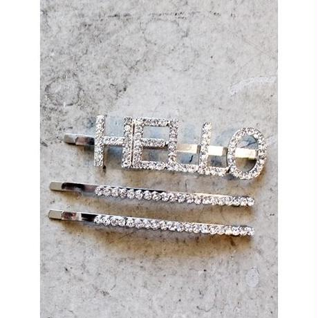 RHINESTORN HAIR PIN SET - HELLO