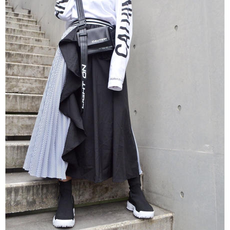 【CUBRUN】ASSYMETRY STRIPE SKIRT