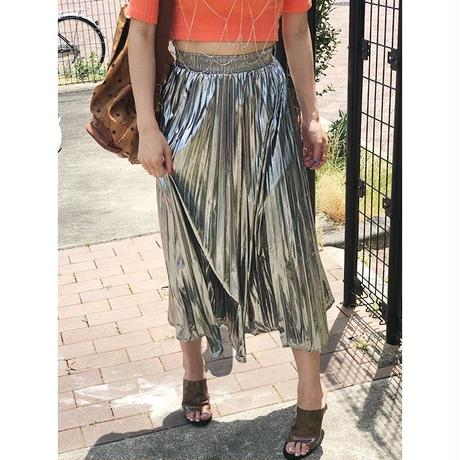 【CUBRUN】METAL PLEATS SKIRT
