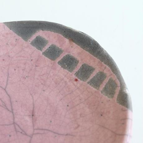 キムホノ作 楽焼 皿/ピンクE