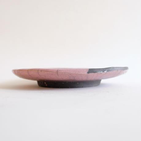 キムホノ作 楽焼 皿/ピンクD