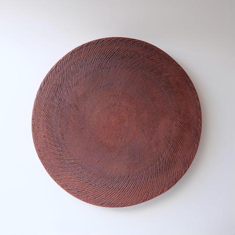 西川聡作 丸板皿/赤