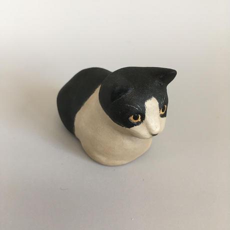 えのきえみ 乾漆器と卓上猫「ゆったり」