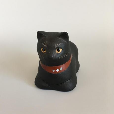 えのきえみ 乾漆 箱座り黒猫箱