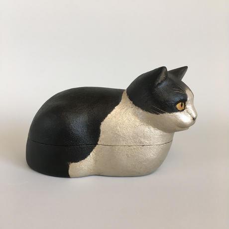 えのきえみ 乾漆 箱座りハチワレ猫箱
