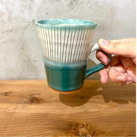 【西表焼青烽窯】大人のやちむん マグカップ タテ線  ブルー