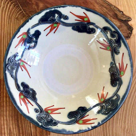 【渋くかっこいいやちむん】壺屋焼 赤絵5寸皿 國場陶芸