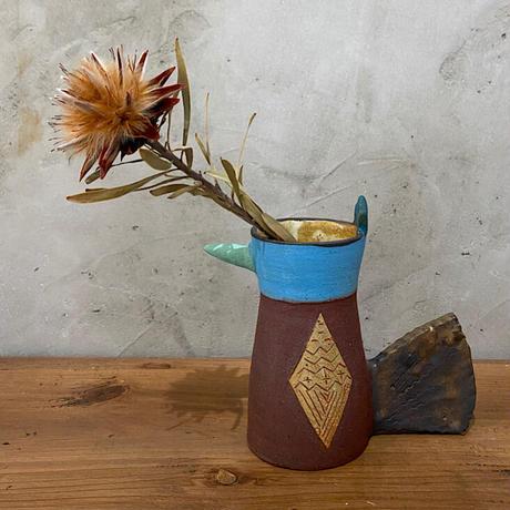 【土の種】トリ花瓶 ブラウン
