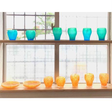【珍しい琉球ガラス】うずマンゴー小皿 匠工房