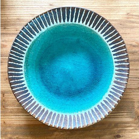 【眞正陶房】大人のやちむん7寸皿 マカロン 翡翠色