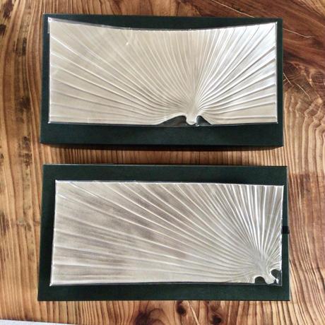 【幻の沖縄工芸・琉球錫器】純錫クバ葉皿 金細工まつ