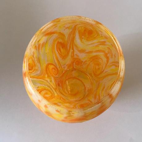 【珍しい琉球ガラス】うずマンゴー丸口ロックグラス 匠工房