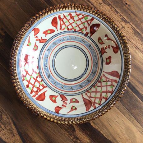 やちむん 赤絵染付絵皿 6寸鉢