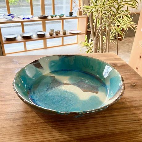 【西表焼青烽窯】大人のやちむん タタラ 丸鉢  オーシャンブルー