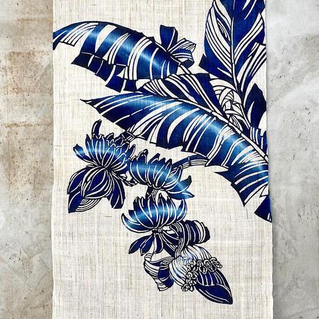受注生産【紅型手染めタペストリー】バナナ  藍