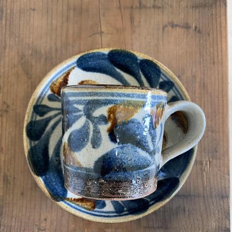 【大人のやちむん】陶芸こまがた 唐草コーヒーカップ&ソーサー